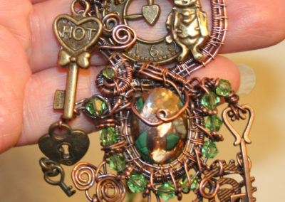 Copper Bronze Malachite Gemstone Steampunk Necklace