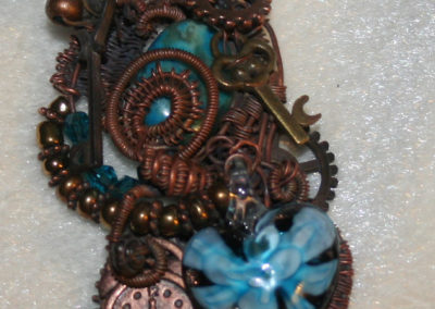 Blue Lampwork Heart Wire Wrapped Necklace