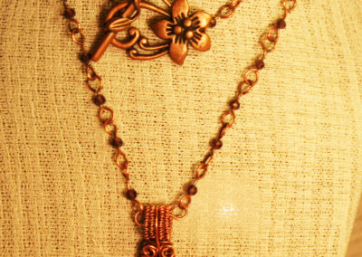Purple Faceted Beaded Amethyst Cabochon Necklace